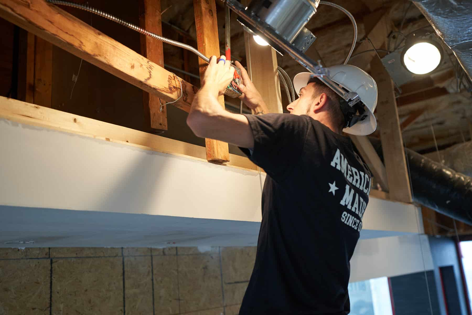 commercial electrician working